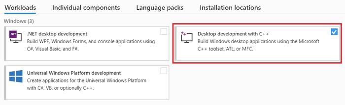 Install workload - Desktop development with C++